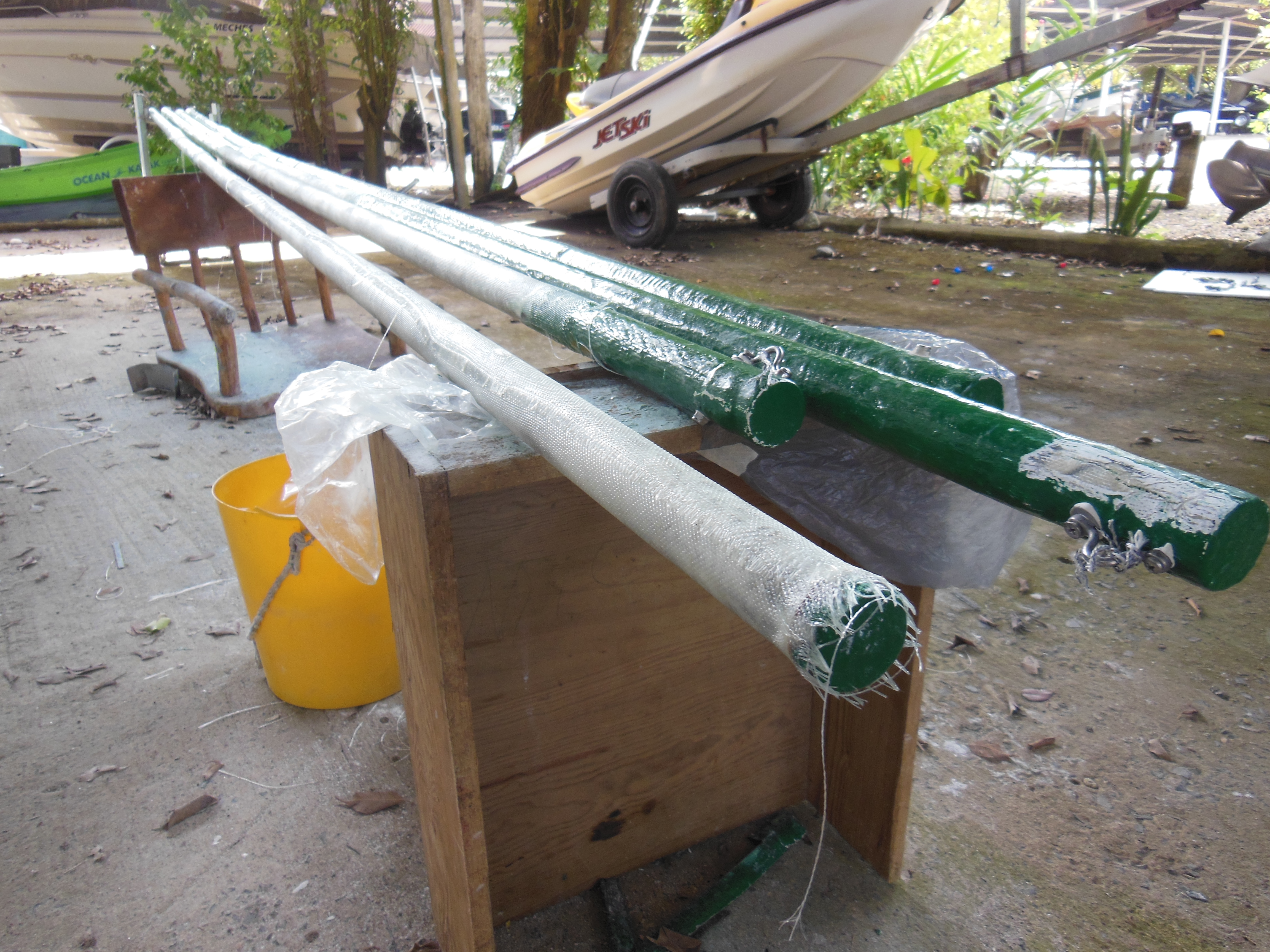 Batten work in the boat shed