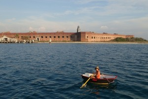 Rowing to the fort