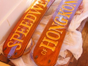 Newly varnished name plates
