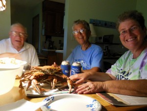 Crab feast with Dudley, Joyce and Lisa