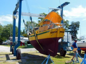 Lifted out at Young's Boatyard