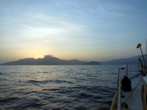Approaching Dominica at dawn