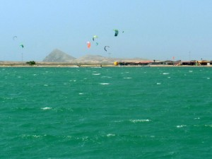 Kite boarders out in the strong afternoon wind
