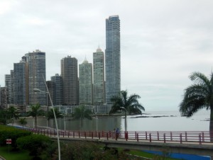 Panama City skyscrapers and the Pacific Ocean