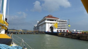Miraflores Lock with cruise ship