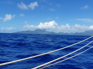 Approaching Raiatea in the morning