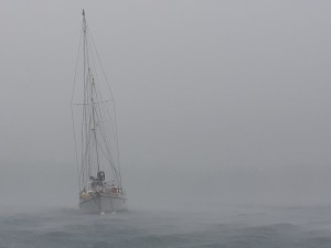 A neighbouring boat during one of the storms